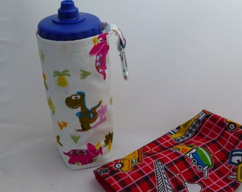 Custom water bottle holders - 50cl Carabiner clip to attach to bag