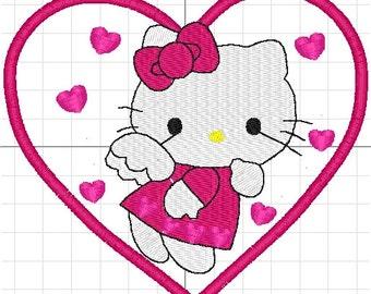 hello kitty love machine embroidery