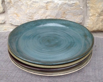 Handmade pottery dinner plates... Set of four mix and match