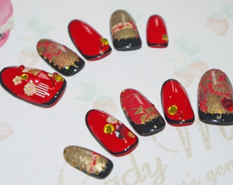Kimono nail art, false nail, japanese fake nails, kawaii japanese sticker, red, gold and black, Swarovski, lolita accessory, wa lolita
