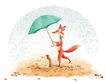 Penny and Pip signed print - Fox and Hedgehog