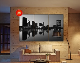 Toledo canvas art prints large wall art black white canvas print Downtown of Toledo skyline USA City Cityscape skyline City Office Decor