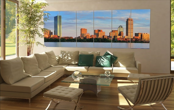 6 panels / boards Boston Charles River panorama with urban city skyline skyscrapers Large panorama panoramic canvas wall art art