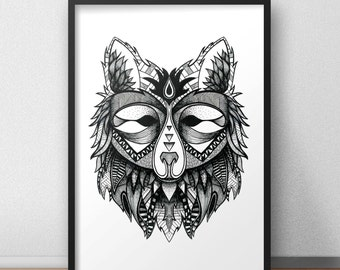 Fox print / poster hand drawn zen styled patterned animal print / poster