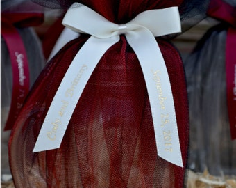 """75 Personalized 5/8"""" Satin Ribbons for Wedding Favors, Birthday Favors or Baby Shower Favors."""