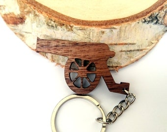 Wooden Cannon Keychain, Walnut Wood, Army Keychain, Old Cannon Keychain, Environmental Friendly Green materials