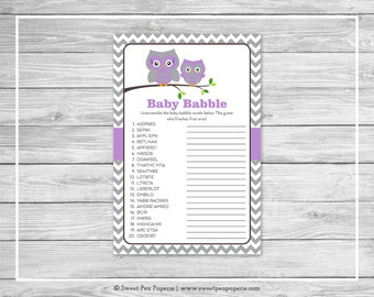 Owl Baby Shower Baby Babble Game - Printable Baby Shower Baby Babble Game - Purple Owl Baby Shower - Owl Shower - Baby Word Scramble - SP136