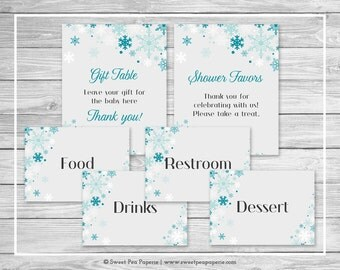 Winter Wonderland Baby Shower Table Signs - Printable Baby Shower Table Signs - Winter Wonderland Baby Shower - Signs - EDITABLE - SP114