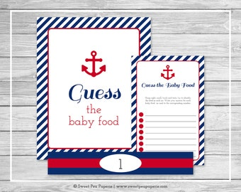 Nautical Baby Shower Guess The Baby Food Game - Printable Baby Shower Guess Baby Food Game - Navy Red Baby Shower - Baby Food Game - SP118