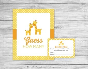 Giraffe Baby Shower Guess How Many Game - Printable Baby Shower Guess How Many Game - Yellow Giraffe Baby Shower - Guess How Many - SP131
