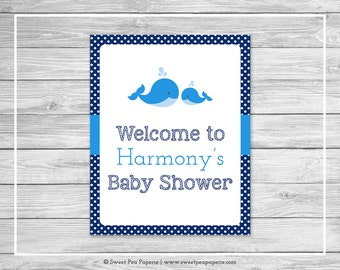 Whale Baby Shower Welcome Sign - Printable Baby Shower Welcome Sign - Blue Whale Baby Shower - Baby Shower Welcome Sign - EDITABLE- SP127