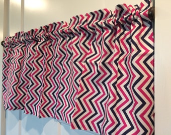 Navy and Pink zig zag chevron curtain valance