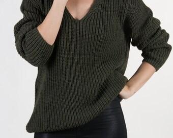 the Raglan V in Khaki -knitted sweater (V neck raglan sleeve cozy minimal pullover)