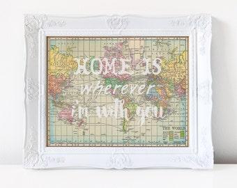 Home Is Wherever I'm With You Printable Wall Art | Vintage Map Printable, DIY Wall Decor, 8x10