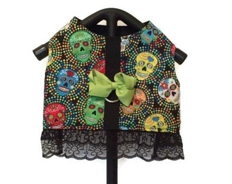 Skull Dog Dress, Dog Harness Dress, Dog Harness, Small Dog Harness, Dog Clothes, Harness Vest, Lace Dog Dress, Small Dog Dress, Dog Harness