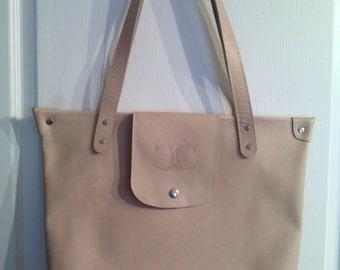 bag, shopping, shoulder, zipper beige leather
