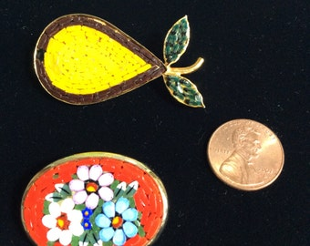 Vintage Italian Mosaic Brooch  Floral Pin  (2)