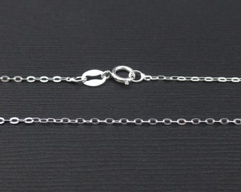 Sterling Silver Flat Oval Cable Chain 1.3mm, Finished Chain, 16, 18, 20, 24 Inch, Delicate Chain