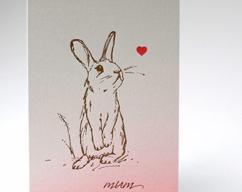 Letterpress Rabbit Mothers Day Card