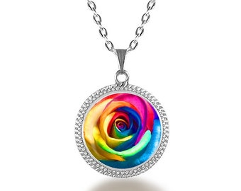 Rainbow Rose Necklace, Rose Jewelry, Flower Necklace, Flower Jewelry