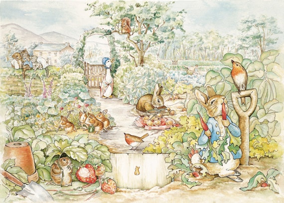 Beatrix potter peter rabbit scene wall mural for Beatrix potter wall mural