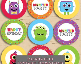 Monster Birthday Party Cupcake Toppers DIY Printable INSTANT DOWNLOAD MON01