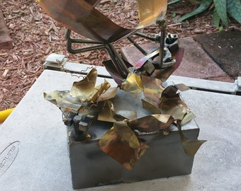 """Vintage Metal Sculpture """"Wall Street Executive"""" by Romano"""