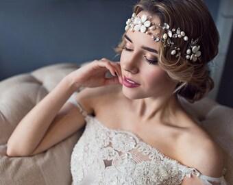 "Wedding pearl wreath ""Spring flowers"""