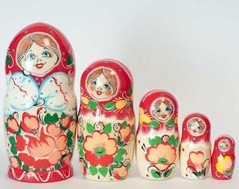 Nesting doll Russian Girl in Red Scarf matryoshka - #6AA
