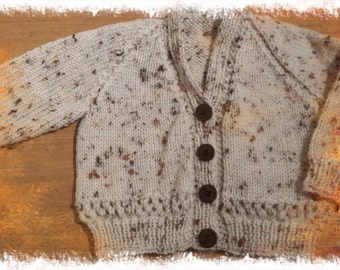 Hand knitted baby boy cardigan