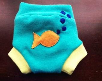 Fish wool diaper cover