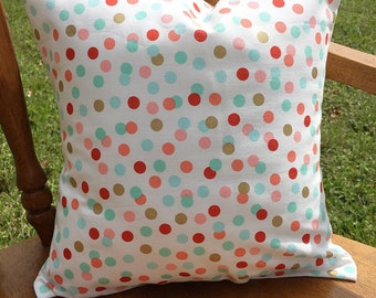 Coral mint and metallic gold confetti nursery pillow