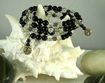 Heaven and Earth Wire Bracelet -  Quartz Crystal and Onyx - Goddess