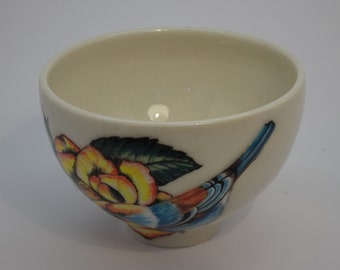 Yellow Rose and Blue Bird Bowl