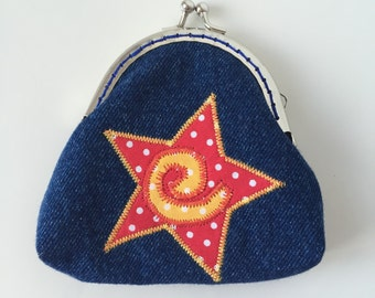 Coin Purse, Girls Purse, Kiss Lock, Star