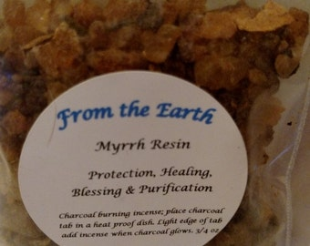 Myrrh Resin-Natural resin, Charcoal burning, Purification, Protection, Meditation, Raise Spiritual Vibrations, Space Clearing .75 oz. bag