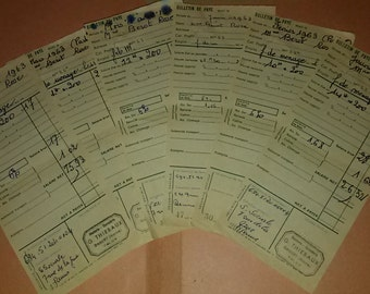6 french payslips 1963 / old french papers / Vintage