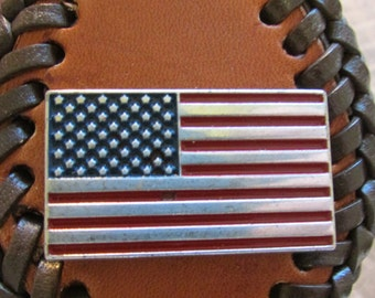 Brown Leather Key Fob with Brown Lace Double Loop Stitching with the American Flag.