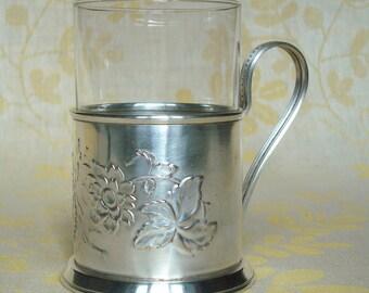 "Vintage Soviet Melchior Tea Glass Holder with glass Podstakannik Mstera ""Aster"""