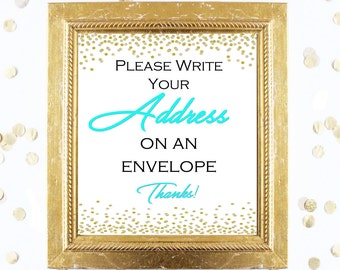 Bridal Shower Game Sign - Write Your Address on an Envelope - Teal and Gold - Instant Printable Digital Download - diy Bridal Shower Print