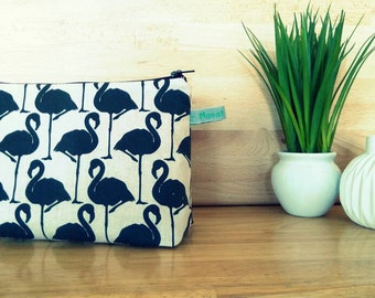 Makeup miami bag / Kit Flamingo Pink / cotton patterned pouch