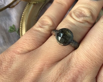 Black Tourmilated Quartz ring