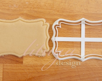Plaque cookie cutter, Vintage frame cookie cutter (No.2) -  can be personalised