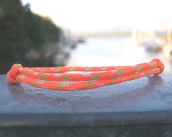 Surfer, neon-orange light green white bracelet 2.5 mm, fine Ribbon for small wrists, sailors surfer bracelet, Sea Ocean Beach
