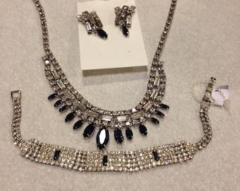 Vintage Rhinestone Necklace earrings and Bracelet set