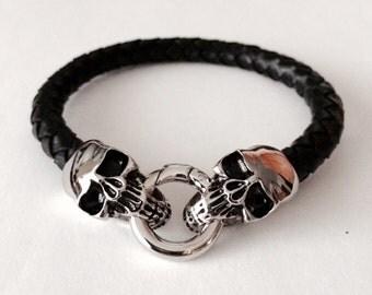Mens Skull Bracelet, Mens Leather Bracelet, Mens Mala, Mens Black Bracelet, Bracelets for Men, Men's Jewelry, Skull Jewelry