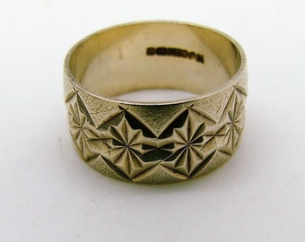 1970's Wide Silver Engraved Gents Band Ring size 10 1/4 ~ U