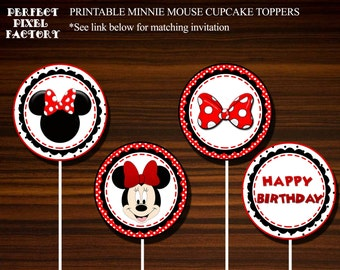 Cupcake Toppers,Minnie Mouse cupcake toppers,Printable cupcake toppers, minnie mouse invitation, printable,cupcake toppers, Instant download