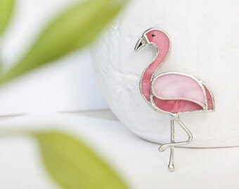 Glass Brooch  Pink Flamingo, Tiffany Technique, Glass Art, Glass Flamingo, Best Gift For Her