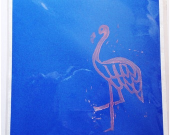 Hand printed Flamingo greeting card - blank